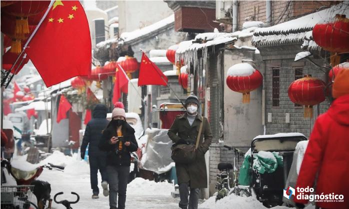 gente caminando en China durante el invierno